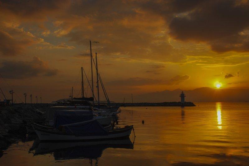 sunrise,sunset,yellow,sea,light house,sun,sky Good Morningphoto preview
