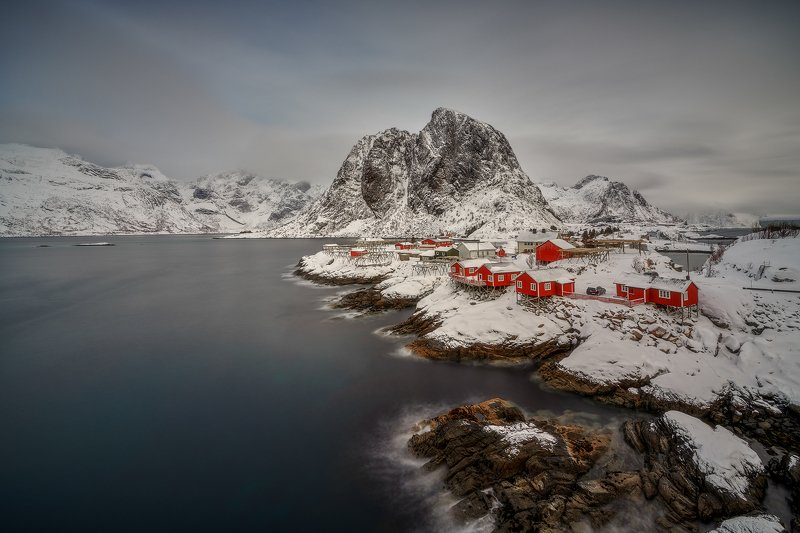 hamnoy, lofoten, island, snow, winter, sea, ice Winter in Lofotenphoto preview