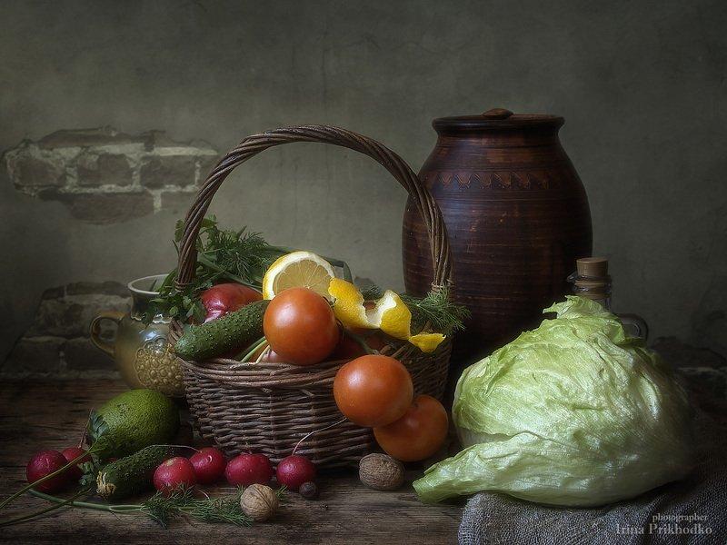 натюрморт, овощи, вегетарианский, корзина, винтажный Вегетарианский натюрмортphoto preview