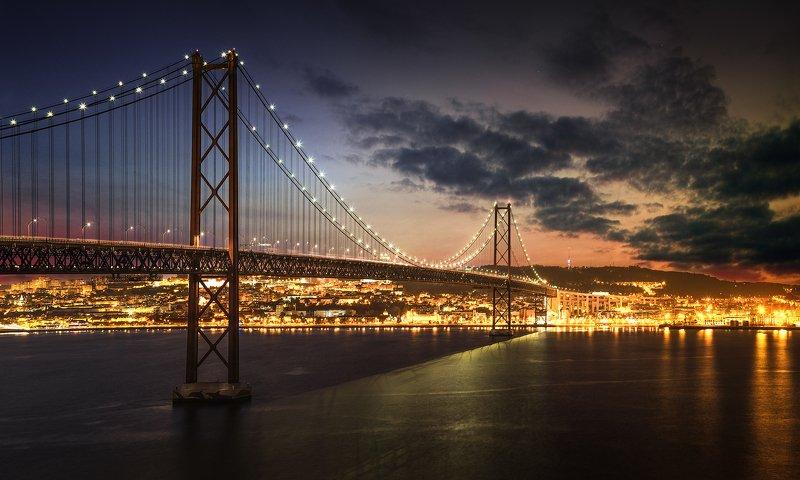 lisboa, city, night, architecture, portugal, river, sunset, blue, light, Ponte 25 de Abril, Lizbon, Portugalphoto preview