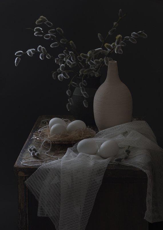 натюрморт,верба,яйцо Апрельphoto preview