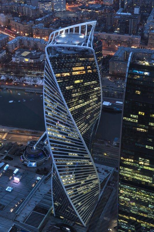 архитектура, город, вечер, весна, закат, башни, москва-сити Башня Эволюцииphoto preview