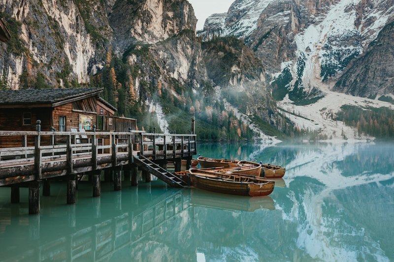 Италия, Доломиты, горы, озеро, Брайс Озеро Брайесphoto preview