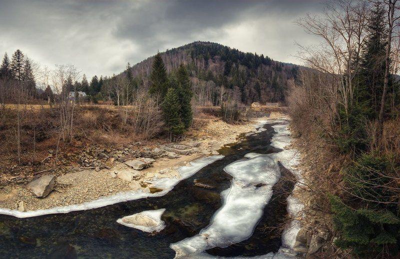 река, прут, украина, карпаты, лед, камень | Скалистый Прут |photo preview