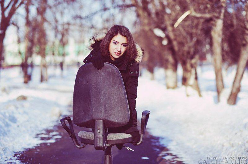nostalgie, chair, street, cold, calm, girl, kate nostalgiephoto preview