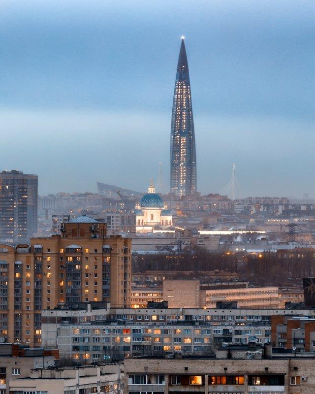 Город, пейзаж Лахта и Троицкий соборphoto preview