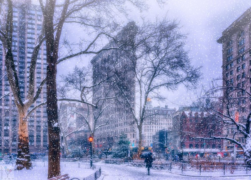 new york, flatiron Snow over Madison Square Parkphoto preview