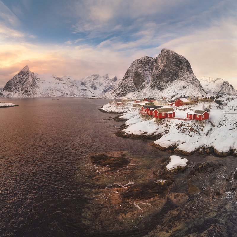 lofoten, hamnoy, mountains, seascape, landscape, mystic, soothing, twilight, water, light Hamnoyphoto preview