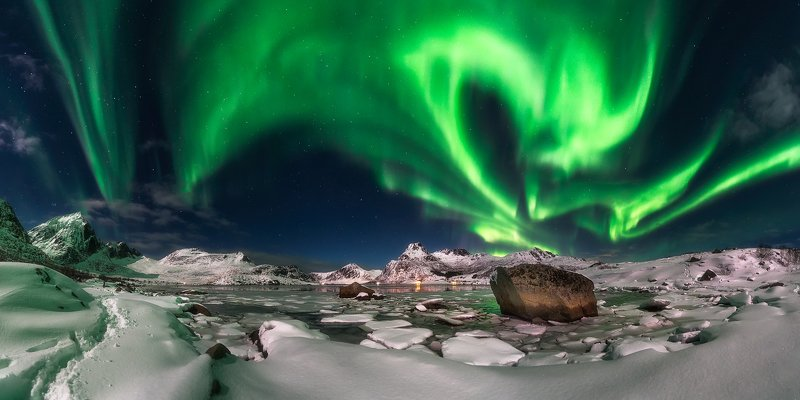 Northern lights and green dance...photo preview