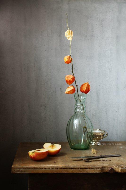 натюрморт, физалис, яблоко Физалис и яблокоphoto preview