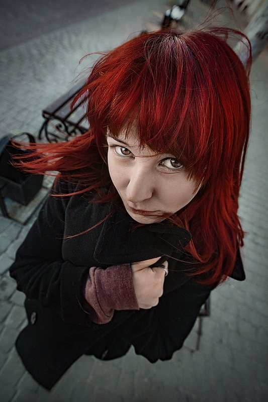 девушка, рыжая, взгляд, глаза, волосы, портрет ...photo preview