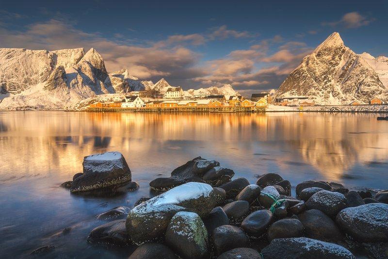 lofoten, sakrisoy, reflections, morning, mountains, seascape, landscape, water, light Morning In Sakrisoyphoto preview