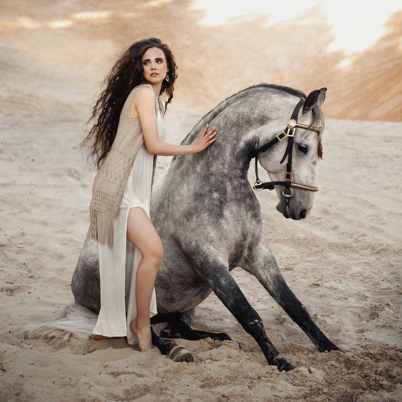 девушка, портрет, конь ***photo preview
