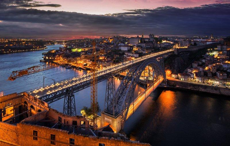 porto, city, night, architecture, portugal, river, sunset, blue, light, Porto, Portugalphoto preview