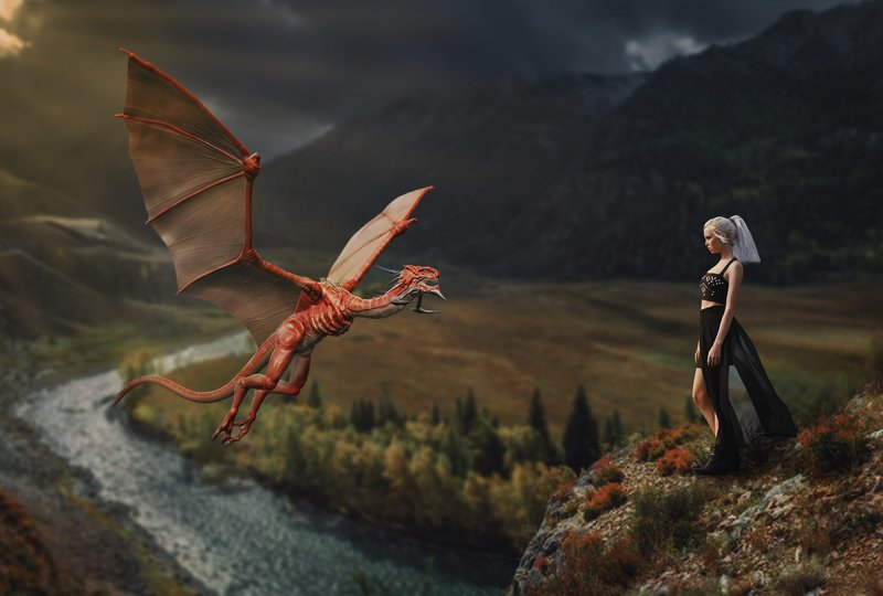 девушка, дракон, горы Повелительница драконовphoto preview
