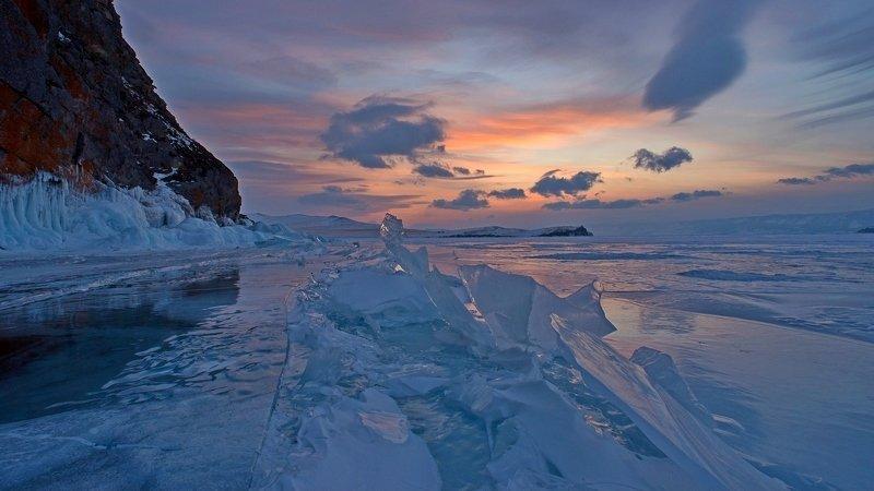 ольхон, закат, лёд, зима, краски, скалы, вечер, байкал Ольхонский закатphoto preview