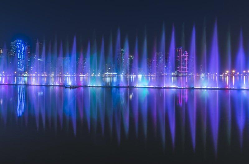 ночь, шарджа, эмираты, фонтан Аритмияphoto preview