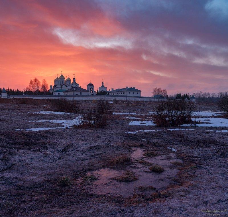 смоленская область, рассвет, проталины, храмы, монастырь, март, весна, заморозки, заря \