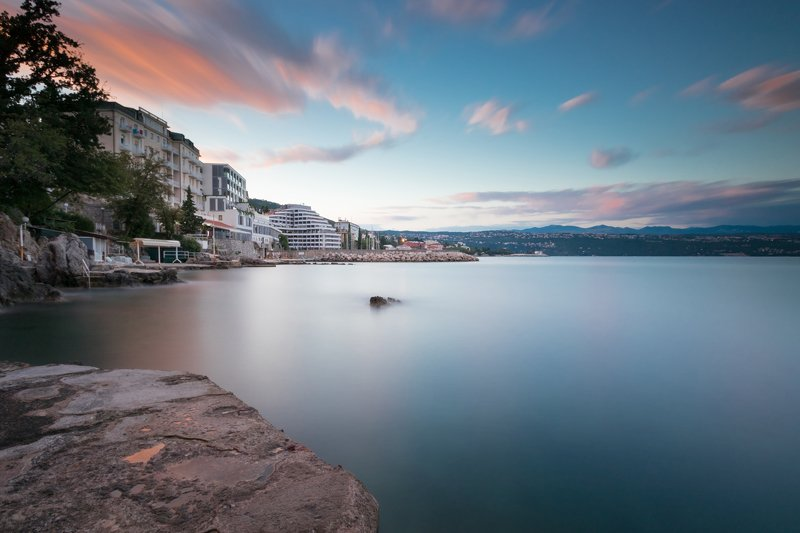 sea, seascape, landscape, nature, long exposure, sky, clouds, water, rocks Opatija rivieraphoto preview