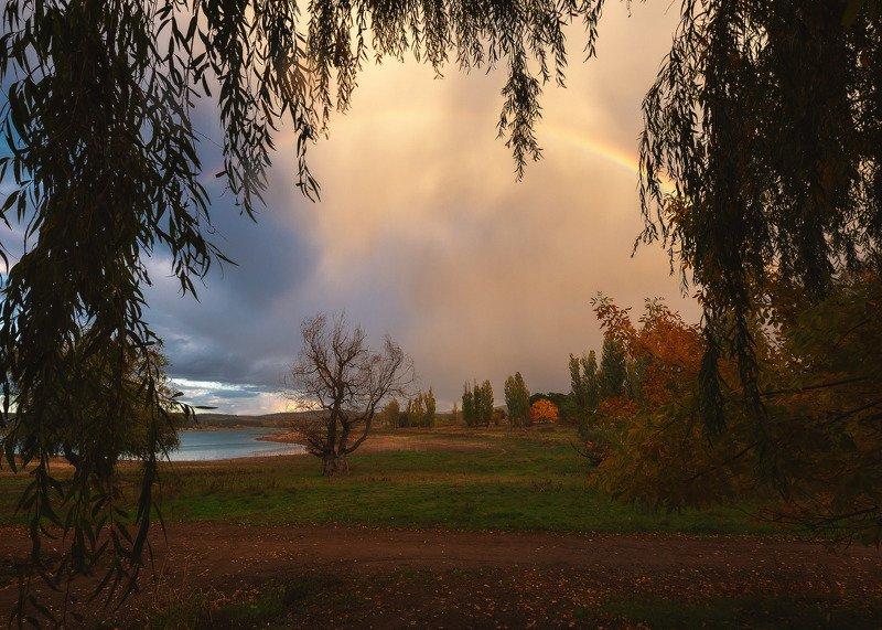 Радуга перед закатом на Симферопольском водохранилище.photo preview