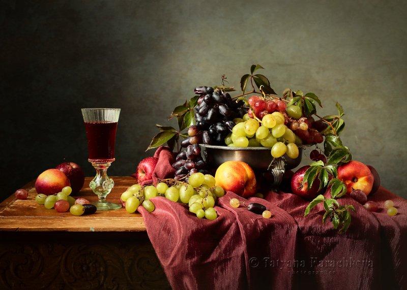 натюрморт, фрукты, виноград, кувшин, персик, виноград, нектарин, фужер, яблоко, вино Ода виноградуphoto preview