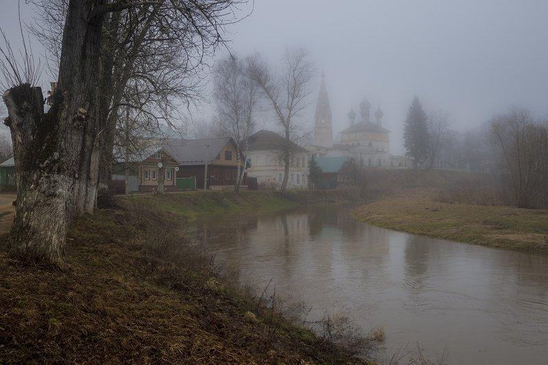 город,весна,утро,нерехта,костромская область,река,туман,церковь,улица Утро.Апрельphoto preview