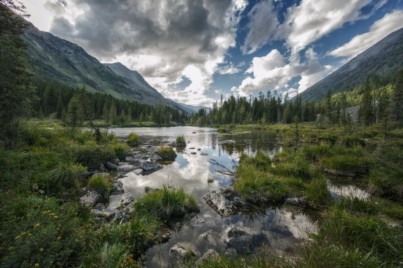 горы, облака, природа, алтай, рассвет, река, путешествие, россия, озеро Тишь да гладьphoto preview
