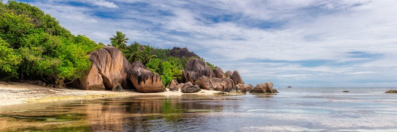 seychelles, beach, island, tropical, digue, la, palm, anse, sand, dargent, water, sea, paradise, ocean, source, nature, tree, summer, travel, rock, granite, landscape, coast, coastline, sky, stone, argent, panorama, panoramic, exotic Exotic beachphoto preview