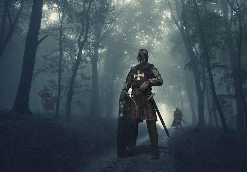 лес, утро, туман, рыцарь Патрульphoto preview