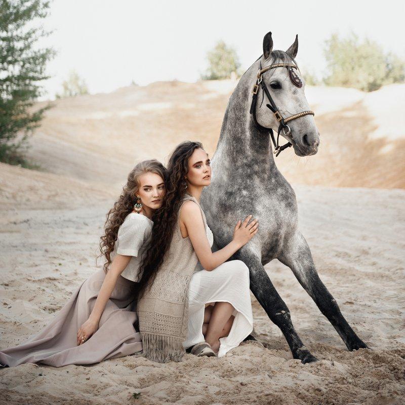 конь, девушка, лето, портрет ***photo preview