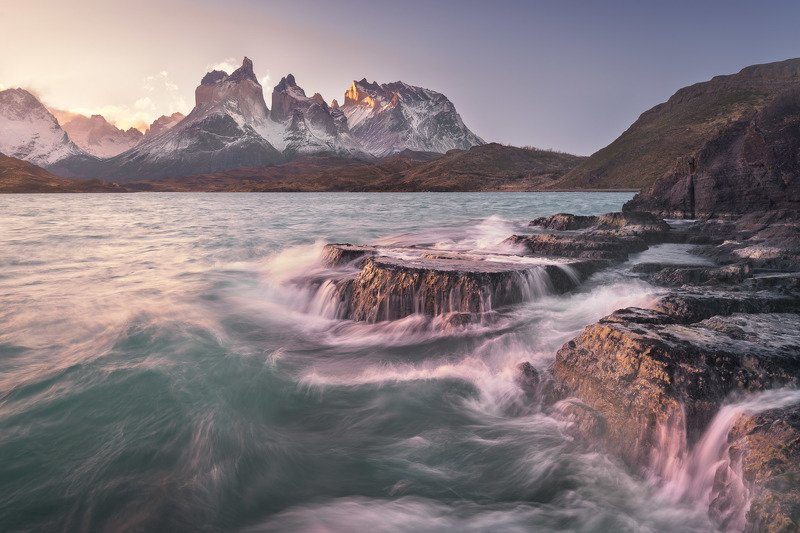 america, andes, basalt, blue, chile, cliff, cuernos, del, dramatic, evening, frost, glacier, hiking, hill, history, island, lago, lake, landmark, landscape, light, mountain, national, nature, outdoor, paine, park, patagonia, peak, pehoe, range, rock, roug The Sea of Storms фото превью