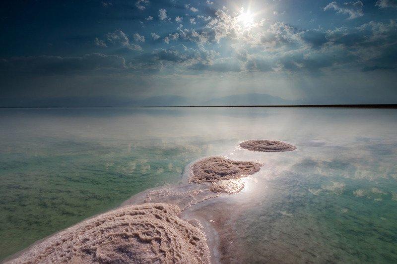 water, dead sea, sea, sunrise, clouds, sky, seascape, nature, israel Dead Seaphoto preview
