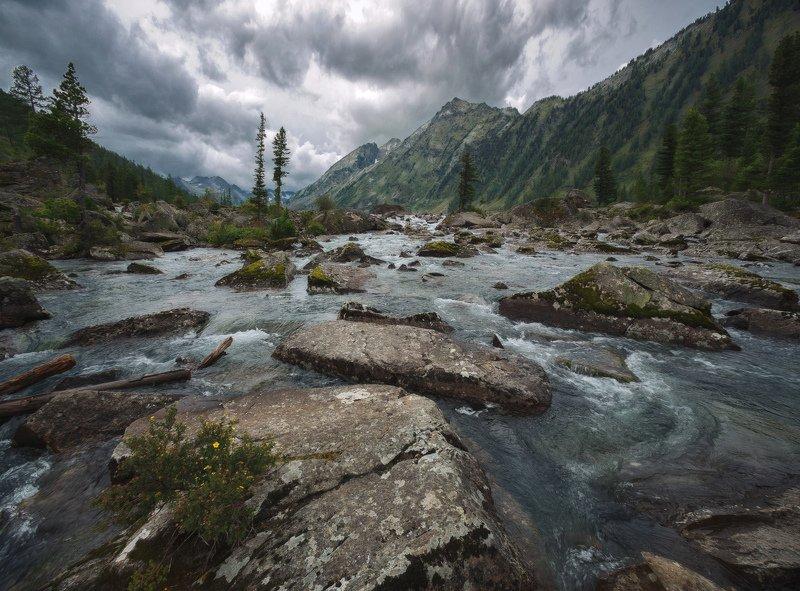 горы, облака, природа, алтай, рассвет, река, путешествие, россия, озеро Мультинские порогиphoto preview