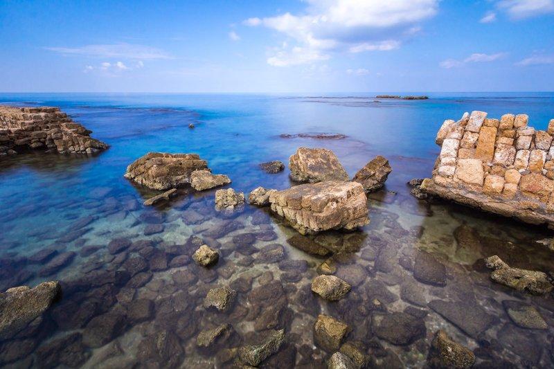 sea, sky, stones, rocks, landscape, nature, water Caesarea old portphoto preview