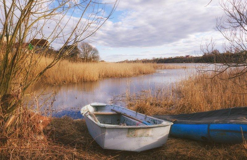 весна, апрель, река, лодки, spring, aprel, boats, river, sky Весенние лодочкиphoto preview