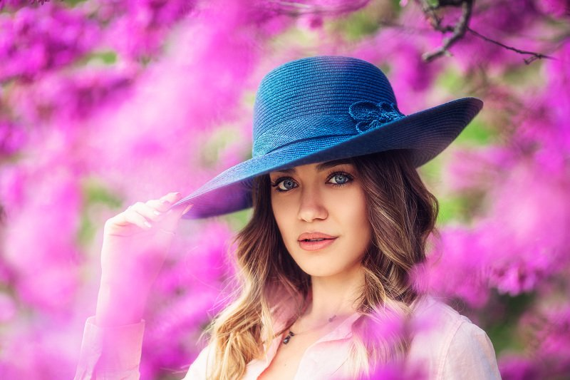 beauty, girl, cute, glamour, face, blue eyes, pink, blue hat, Portrait in Pink Blossomphoto preview