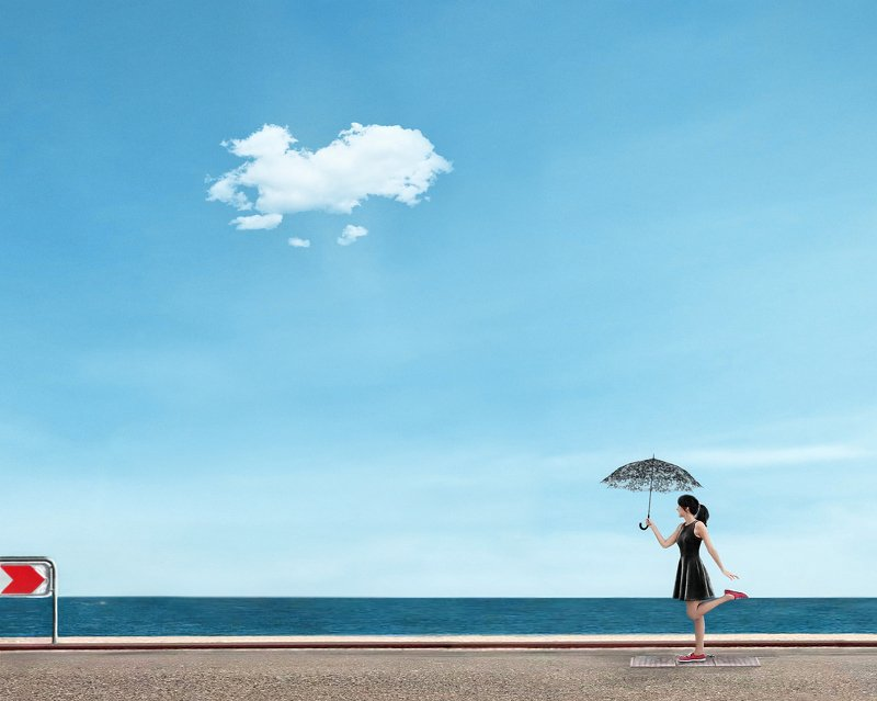 conceptual photography, conceptual, conceptualism, minimalism surreal, girl with an umbrellaphoto preview