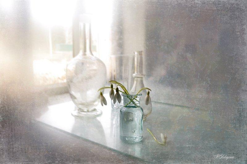 подснежники,стекло,ваза,цветы,вера павлухина, Весенняя пораphoto preview