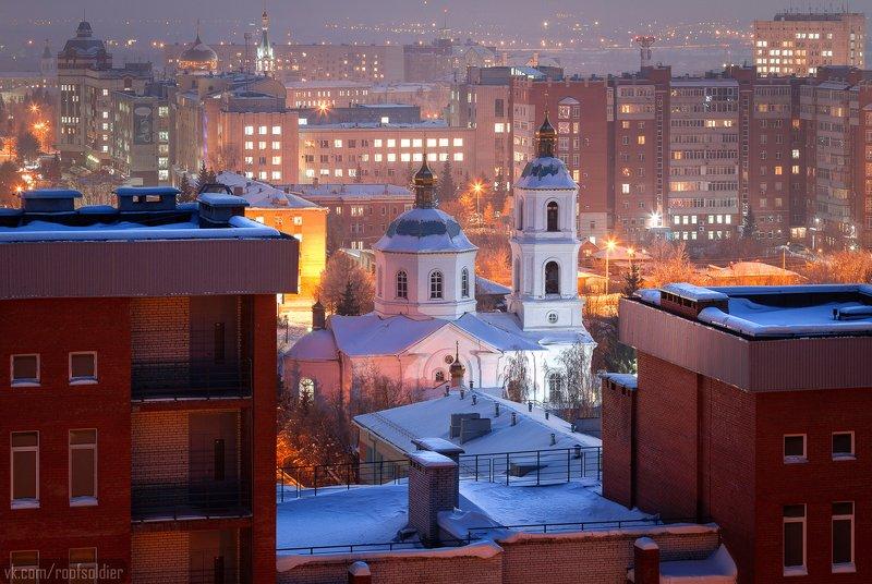 Омск, Россия, крыша, собор, храм, церковь, город, пейзаж, ночь Крестовоздвиженскийphoto preview