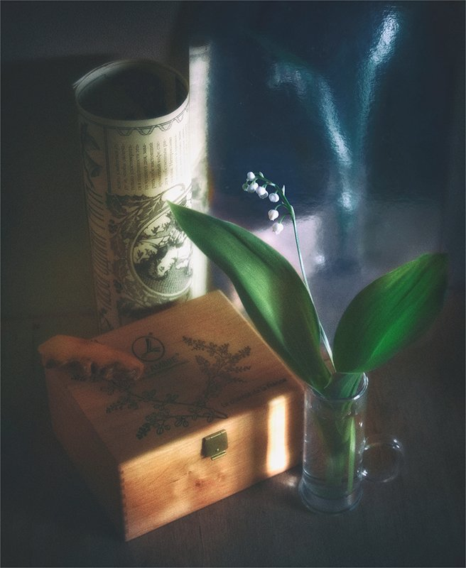 still life, натюрморт,    винтаж,    цветы, ландыши , свет, тень, отражение, зеркало, шкатулка, натюрморт с ландышемphoto preview