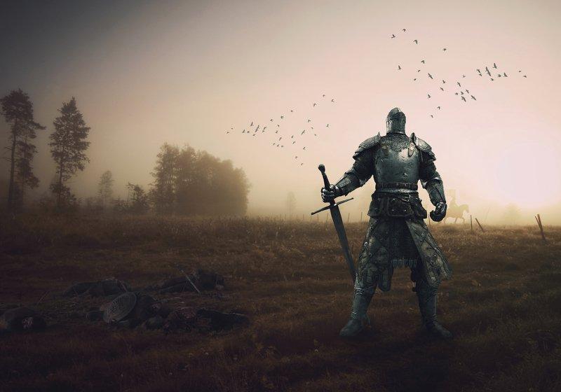 бог войны, поле, битва, утро, туман Аресphoto preview