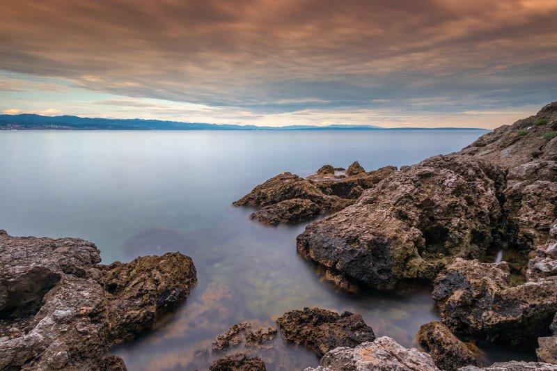 sea, seascape, landscape, nature, long exposure, sky, clouds, water, rocks Opatija rivieraphoto preview
