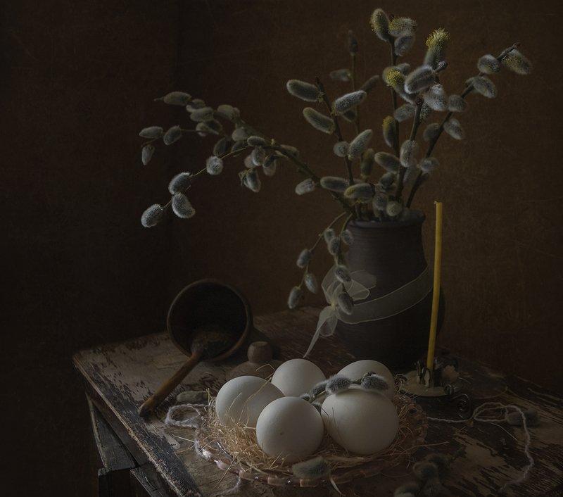 натюрморт,верба,яйцо,свеча ***photo preview