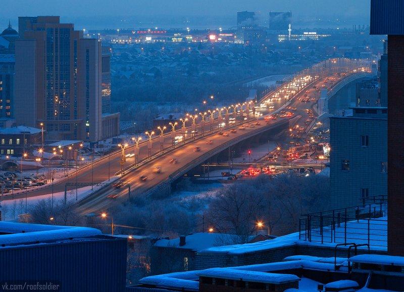 Омск, Россия, ночь, зима, крыша, мост, город, пейзаж Омский метромостphoto preview