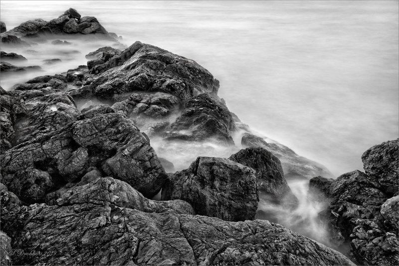 скалы, море, пейзаж, длинная экспозиция Тихий прибойphoto preview