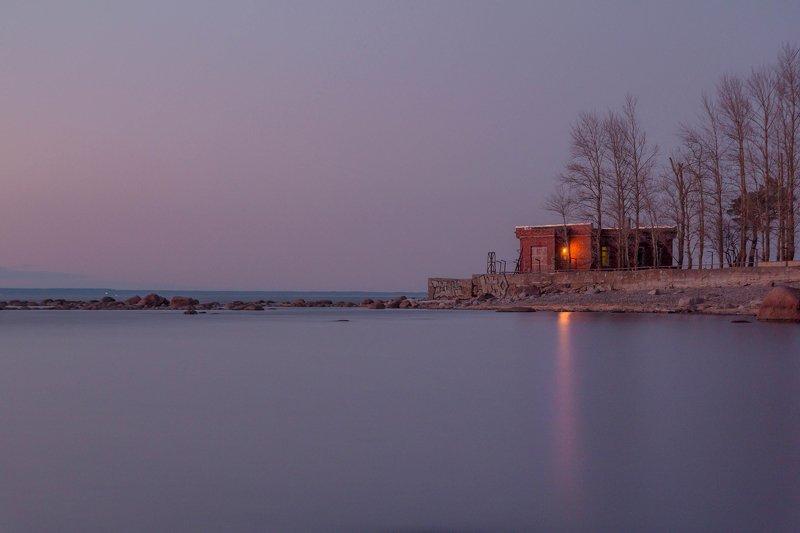 выдержка, залив, сумерки Домик смотрителя маяка.photo preview
