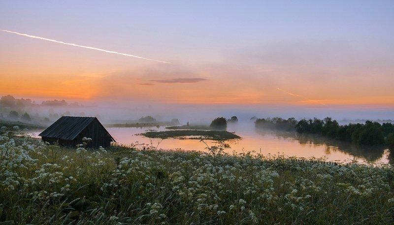 вологодская область, станция вожега, река вожега, деревня коневка, утро, восход Рассветphoto preview