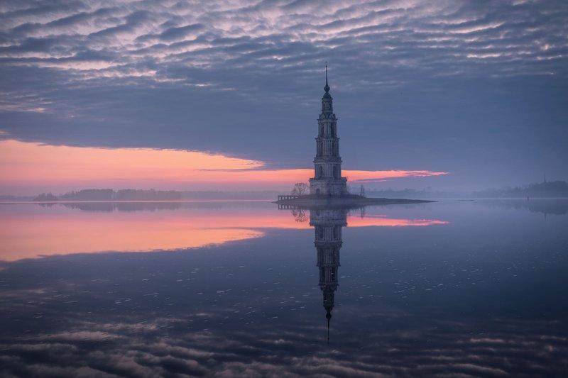 Калязин Россия колокольня рассвет Колокольня Никольского собора в Калязинеphoto preview