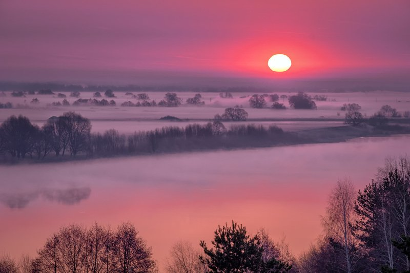 константиново, есенин, рассвет, ока, река, туман, утро, облака, настроение, бардо, палитра Бордовая палитраphoto preview