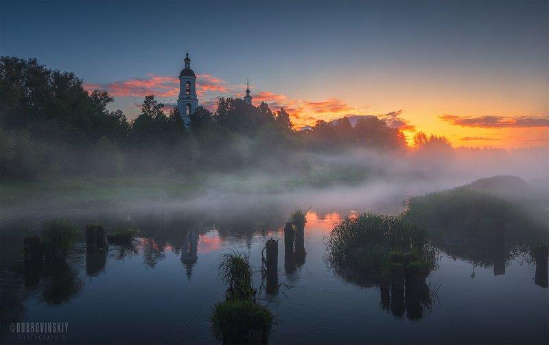 филипповское, владимирская область, река, туман, лето, рассвет. Филипповское фото превью